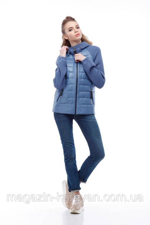 Комбинированная куртка-бомбер женская Фреш new синий дым