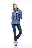 Комбинированная куртка-бомбер женская Фреш new синий дым, фото 1