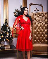 Роскошное платье из из мягкого фатина с декольте и вырезом на спине