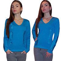Дизайнерский вязаный женский свитер машинной вязки, с протяжками.