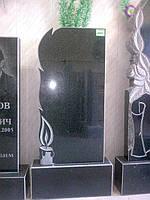 Памятник 120*60*8 см прямоугольный гранитный черный цветной одинарный двойной