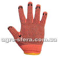 Перчатки трикотажные ПВХ с точкой оранжевые