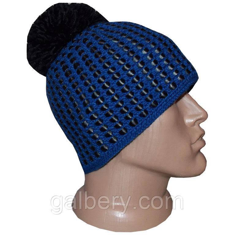 зимняя вязаная шапка с помпоном из коллекции вязаная кожа