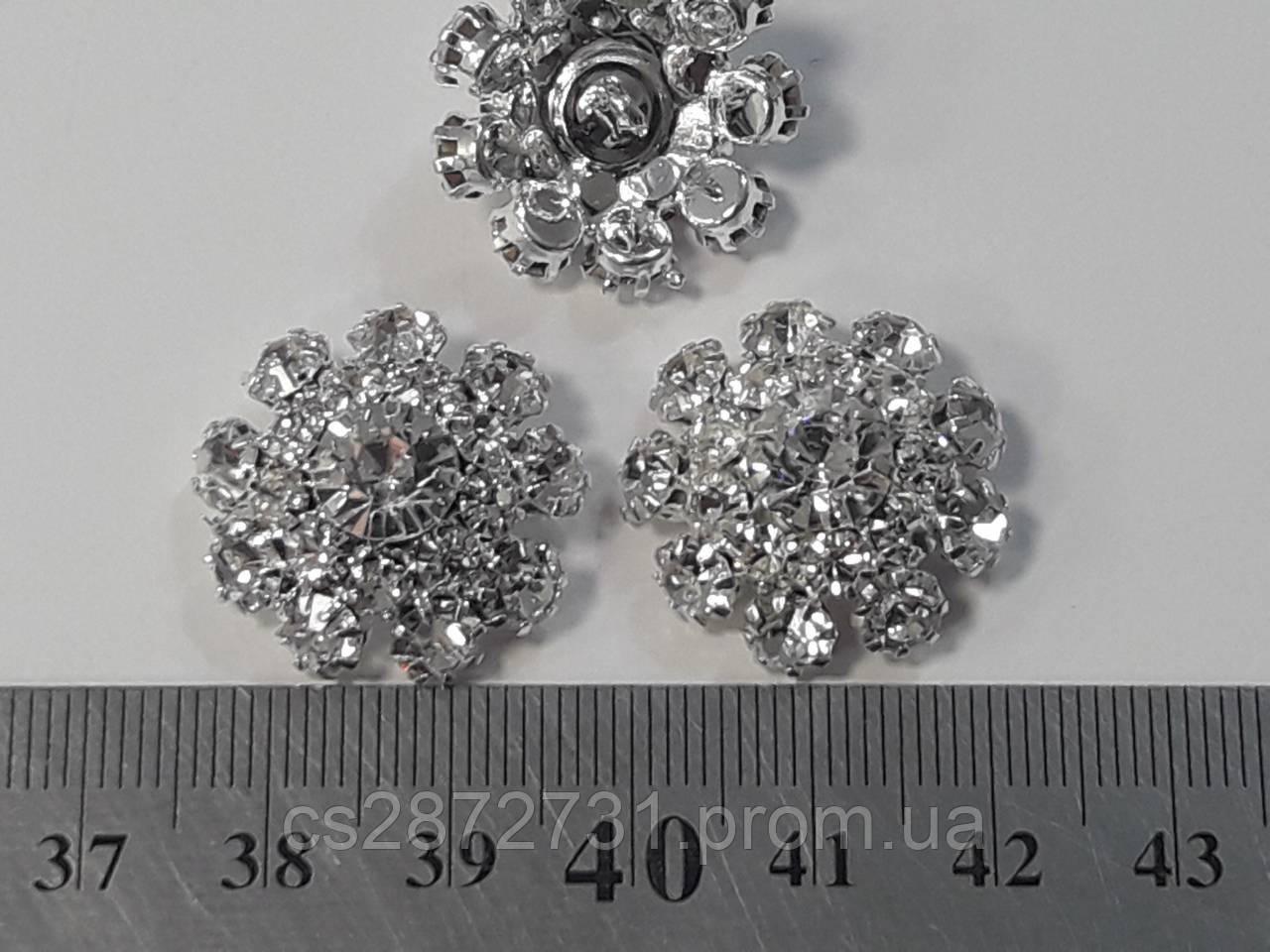 Пуговици с камнями для одежды, прозрачные, 22мм