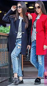 Женское короткое пальто весна-осень с фигурным вырезом без воротника