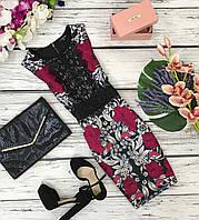 Приталенное платье из плотной ткани с гипюровым декором  DR1805164
