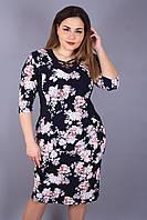 Платье большого размера Переплёт розы, трикотажное платье большого размера,нарядное платье большого размера