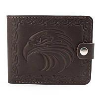 Кожаное портмоне П2-09 с орлом (темно-коричневый), фото 1