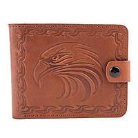 Кожаное портмоне П2-02 с орлом (светло-коричневый), фото 1