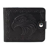 Кожаное портмоне П2-01 с орлом (черный), фото 1