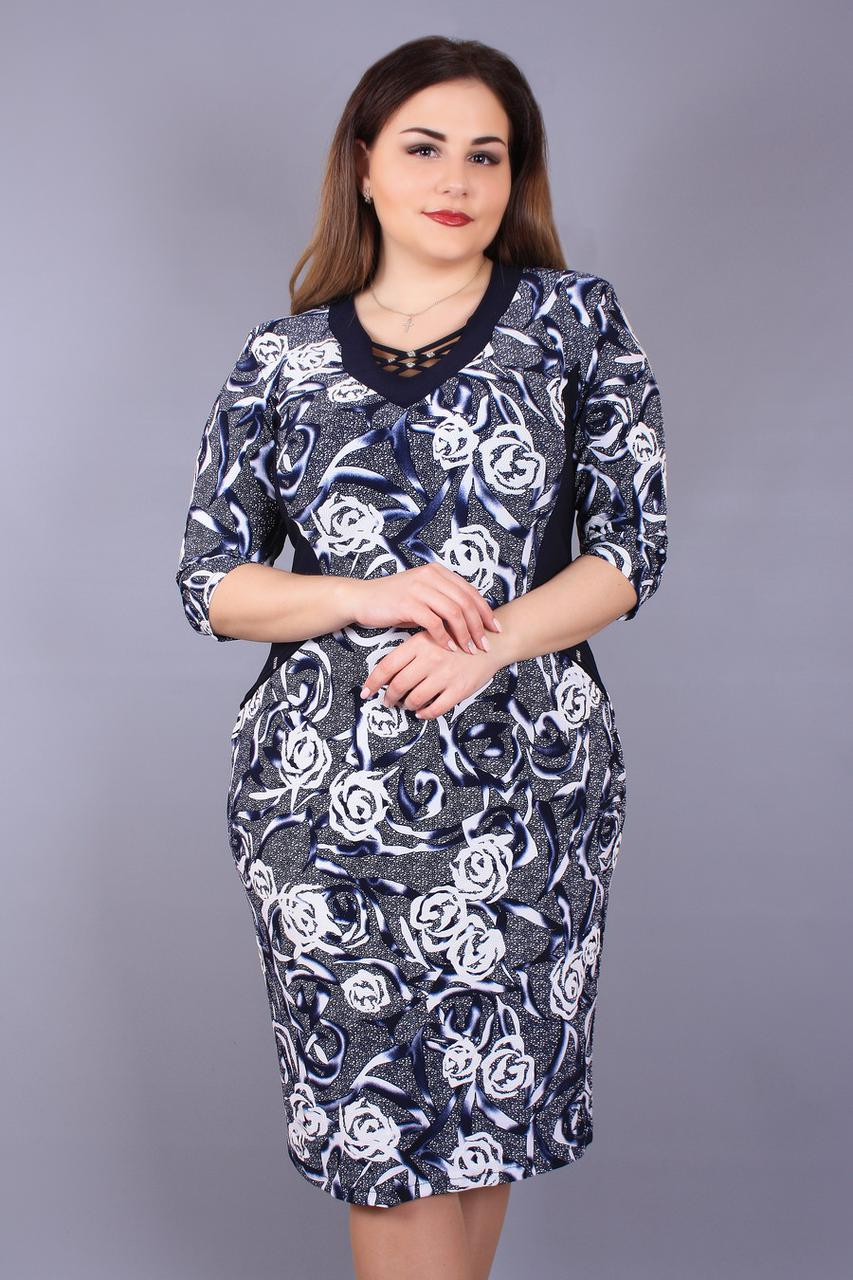 91a6b73e3472d3f Платье большого размера Переплёт синие розы, трикотажное платье большого  размера,нарядное платье для полных