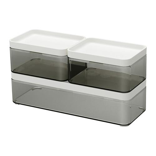Набор коробок IKEA BROGRUND прозрачный серый белый 3 шт 903.153.12