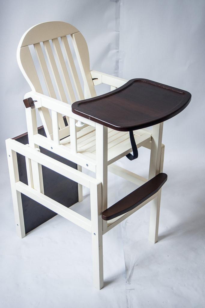 Детский деревянный стульчик-трансформер для кормления от производителя Дитячий сон цвет ваниль+шоколад