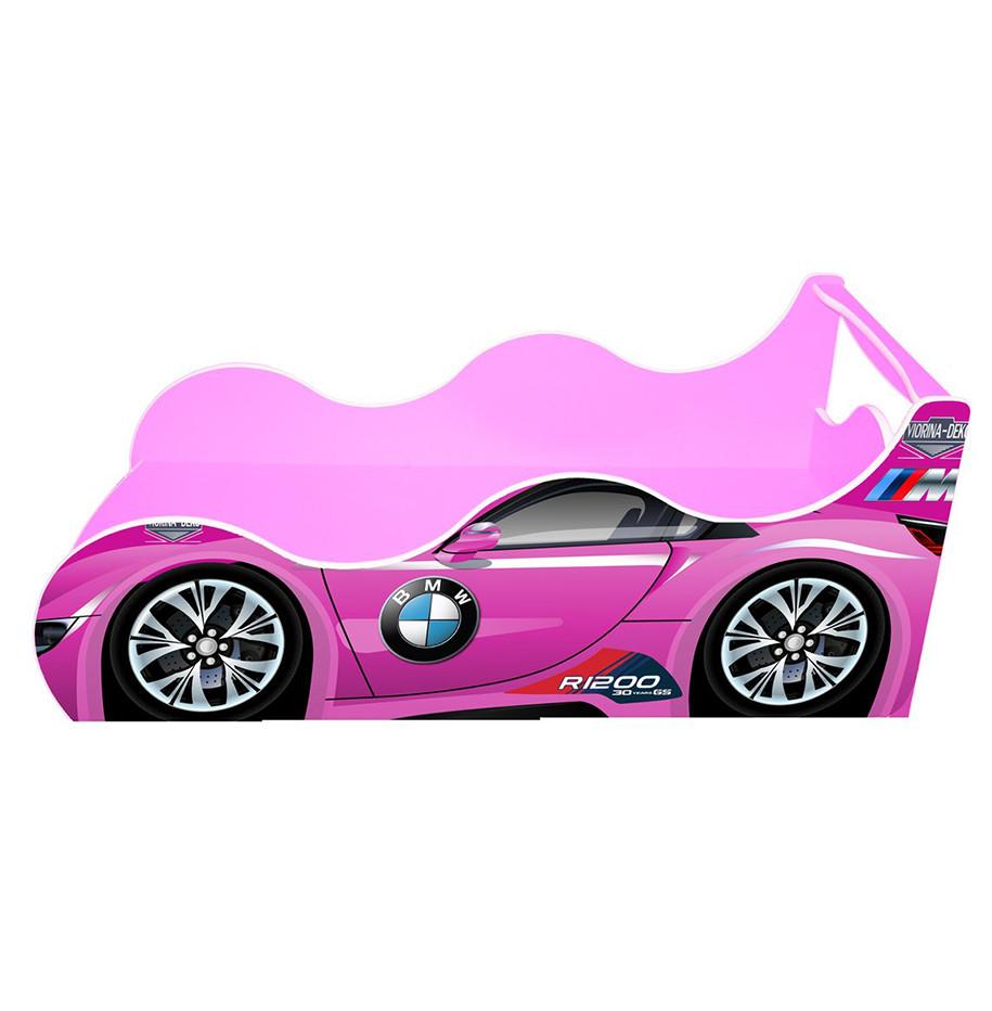 Кровать машина для девочки BMW-детская Драйв (розовая) 80*160 с