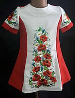 Вышитое платье для девочки, рост 116-146 см