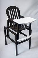 Из натурального дерева детский стульчик трансформер для кормления ребенка цвет венге+белый от ТМ Дитячий сон