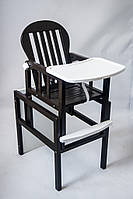 Из натурального дерева детский стульчик трансформер для кормления ребенка цвет венге+белый от ТМ Дитячий сон, фото 1