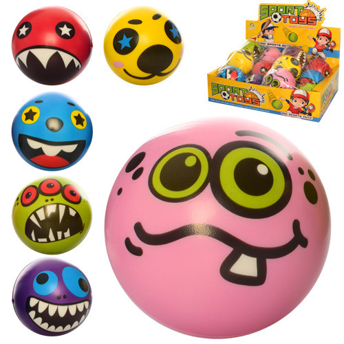Мяч детский фомовый E4018 (288шт) 9,5см, монстры, 12шт(микс видов) в д
