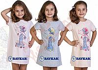 """Ночная сорочка для девочки """"Девочка в шляпе"""" """"Baykar"""", Серый, 4, 104 см"""