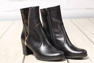 Жіночі шкіряні черевики TIFFANY на середньому каблуці зі вставкою з рептилії