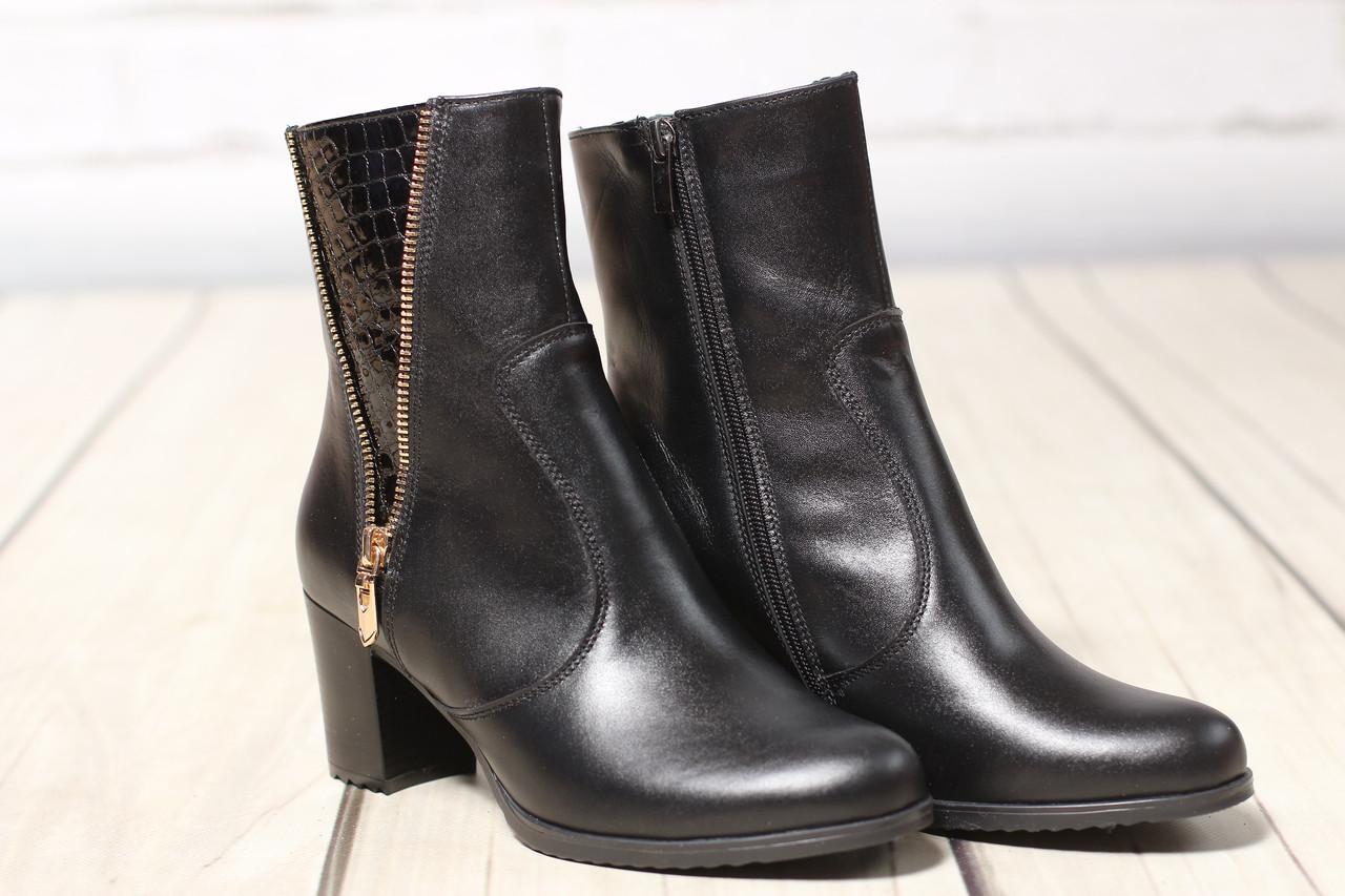 Женские кожаные ботинки TIFFANY на среднем каблуке со вставкой из рептилии