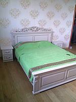 Кровать Дерево ольха Белая двуспальная Орхидея 8 чёрная матрац 2000*1600