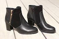 Женские кожаные ботинки TIFFANY на среднем каблуке со вставкой из замша, фото 1