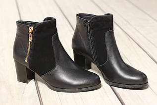 Жіночі шкіряні черевики TIFFANY на середньому каблуці зі вставкою з замша