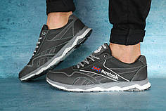 Мужские демисезонные кроссовки Reebok черно - серые топ реплика