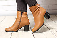 Женские кожаные ботинки TIFFANY на среднем каблуке из рыжей кожи, фото 1