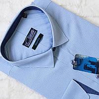 """Нежно голубая мужская рубашка в полоску """"Castello Corse"""""""
