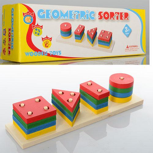 Деревянная игрушка Пирамидка MD 0715  геометрика, в кор-ке, 22-7-5,5 с