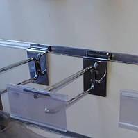 Крючок одинарный с ценникодержателем, хром L=200мм для экспопанелей и экономпанелей