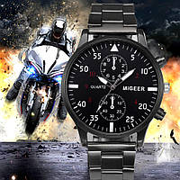 "Мужские кварцевые наручные часы ""Migeer style"" черные на браслете"