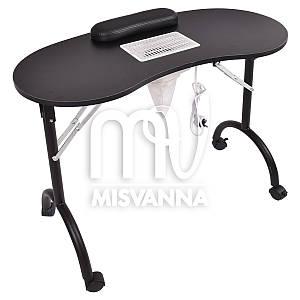Маникюрный стол с врезной вытяжкой, подлокотником и сумкой (black)