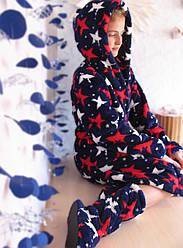 Прекрасный Набор Eirena Nadine халатик с сапожками  (523-34) рост 134 тёмно синий