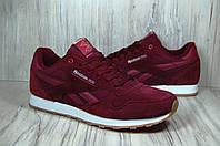 Бордовые кроссовки Reebok Classic натуральный замш, фото 1