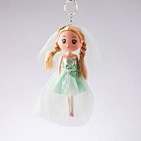 Брелок детский Кукла Невеста мятный наряд L-17см