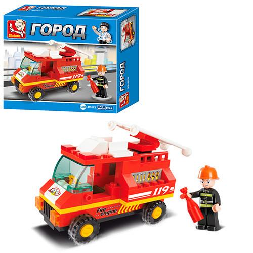 Конструктор SLUBAN M38-B0173  пожарная машина, фигурка, 74дет, в кор-к