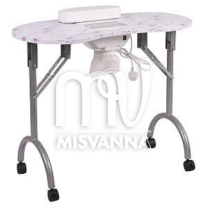 Маникюрный стол с врезной вытяжкой, подлокотником и сумкой (flowers)