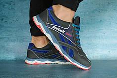 Мужские демисезонные кроссовки Reebok черно - синие топ реплика