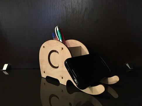 Подставка для карандашей, ручек и телефона Слон