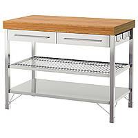IKEA RIMFORSA Рабочий стол, нержавеющая сталь, бамбук  (402.940.48)