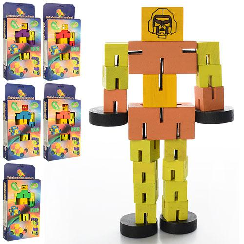 Деревянная игрушка Дергунчик M00761  робот,6 цветов, в кор-ке ,23-11,5