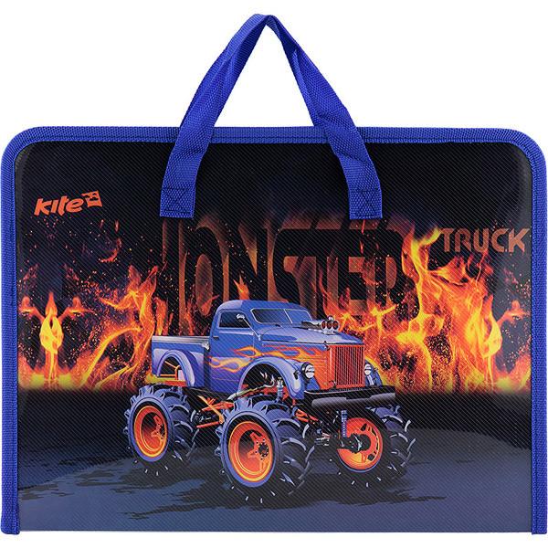Портфель на молнии, 1 отдел., A4 Kite, Monster Truck