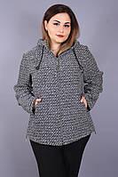 Жакет женский большого размера Елена ч/б, буклированная женская кофта большого размера