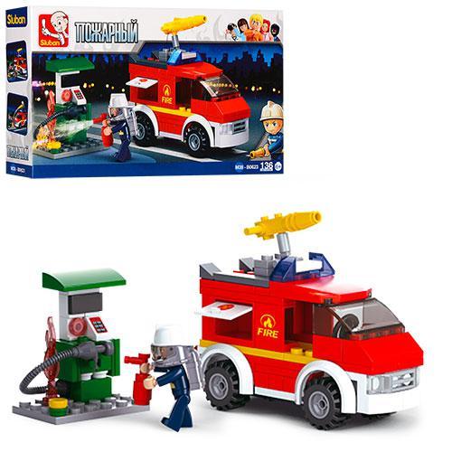 Конструктор SLUBAN M38-B0623  пожарная машина,заправка,фигурка,136дет,