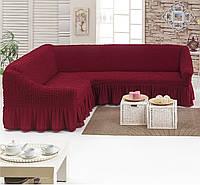 Чехол на угловой диван  с оборкой. цвет бордо