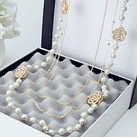 Ожерелье из жемчуга ювелирная бижутерия позолоченное 3542
