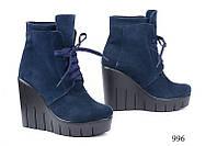 Женские ботинки на платформе замшевые синие 996
